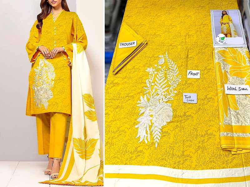 Embroidered Twill Linen Dress with Wool Shawl Dupatta