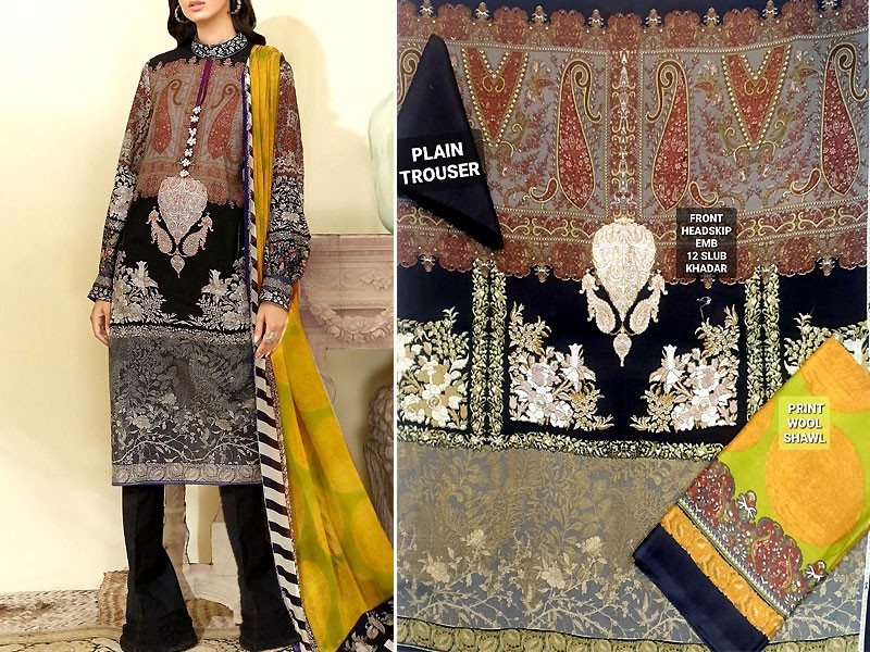 Heavy Embroidered Khaddar Dress with Wool Shawl Dupatta