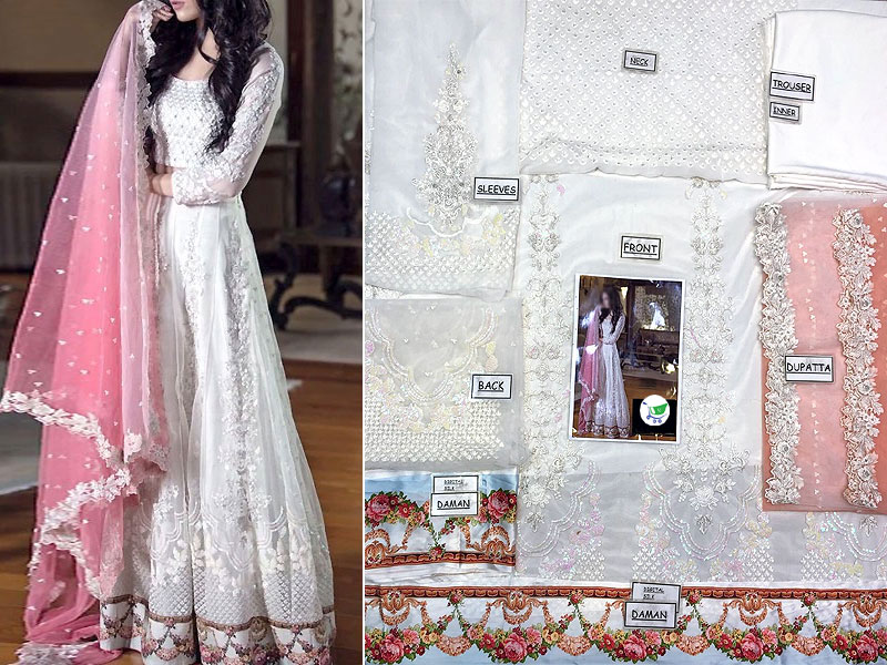 Elegant Embroidered Net Maxi Dress with Net Dupatta & Inner