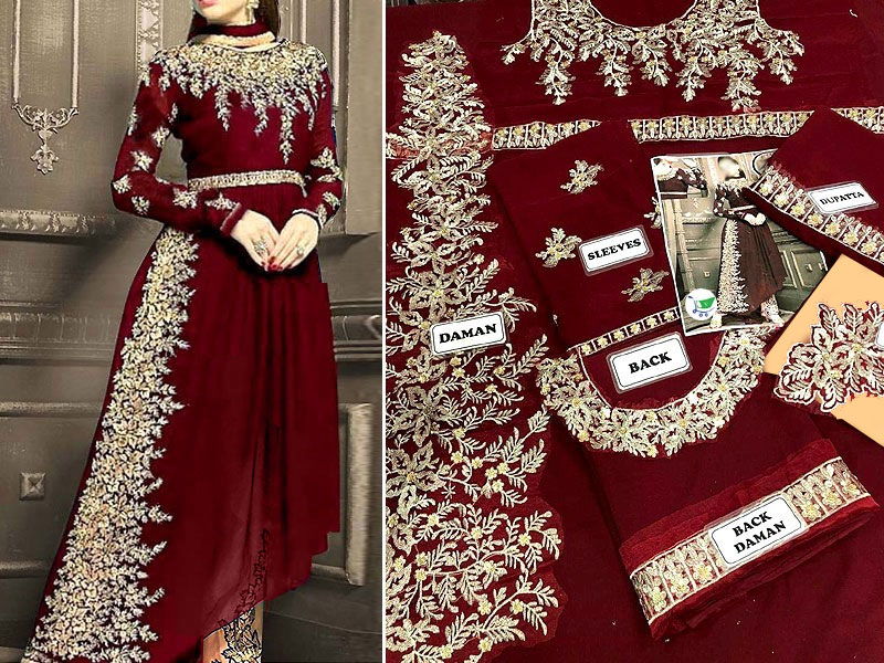 Indian Embroidered Maroon Chiffon Frock