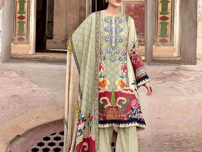 Embroidered Marina Dress with Wool Shawl Dupatta