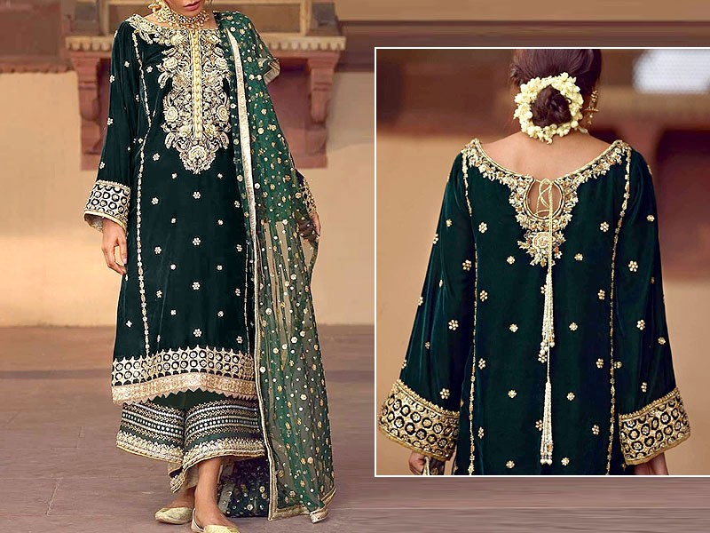 Heavy Embroidered Green Velvet Dress with Net Dupatta Price in Pakistan