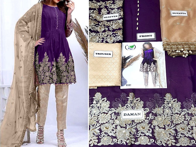 Embroidered Purple Chiffon Dress with Net Dupatta