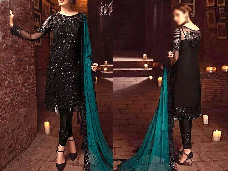 Heavy Embroidered Black Net Dress with Organza Dupatta Price in Pakistan