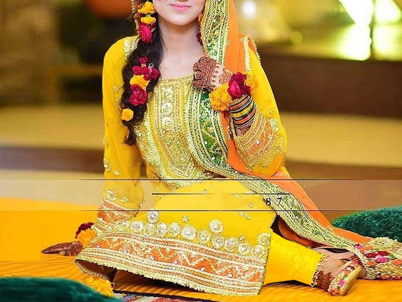 Embroidered Yellow Chiffon Mehndi Dress