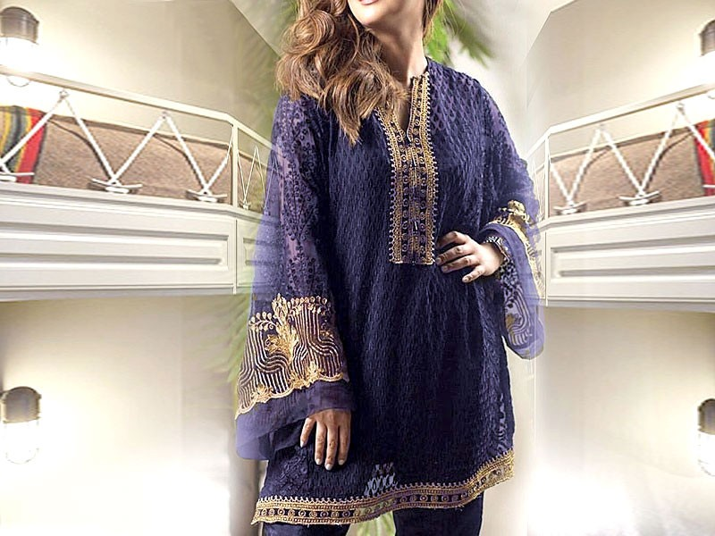 Embroidered Navy Blue Chiffon Kurti with Inner