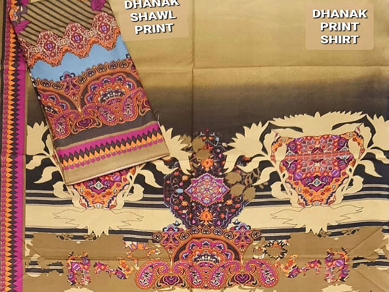 Designer Dhanak Dress with Dhanak Shawl and Embroidered Trouser