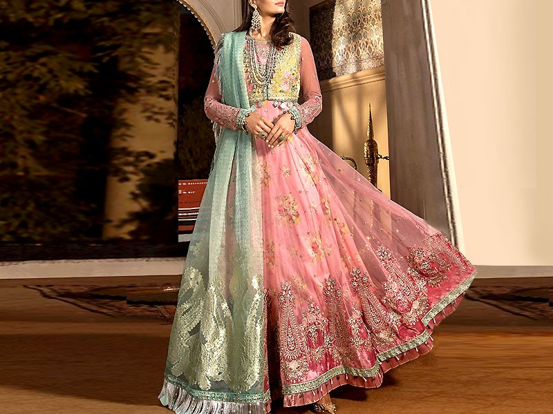 Luxury Embroidered Net Dress with Organza Dupatta Price in Pakistan
