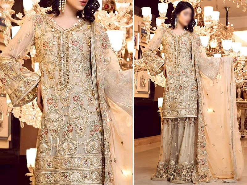 Luxury Heavy Embroidered Chiffon Wedding Dress Price in Pakistan