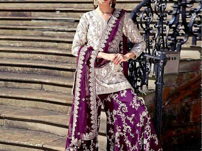 Heavy Embroidered Chiffon Dress with Embroidered Silk Trouser Price in Pakistan