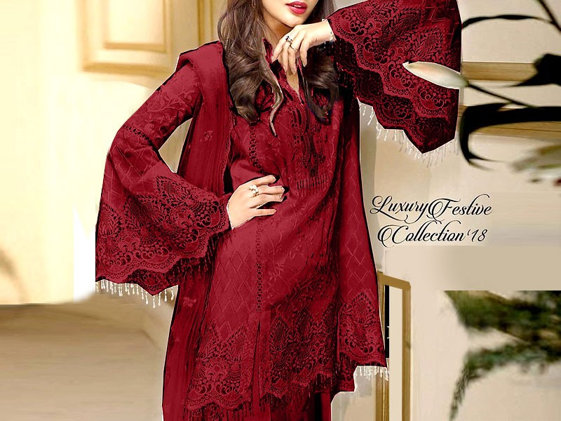 Embroidered Maroon Net Wedding Dress with Inner Price in Pakistan