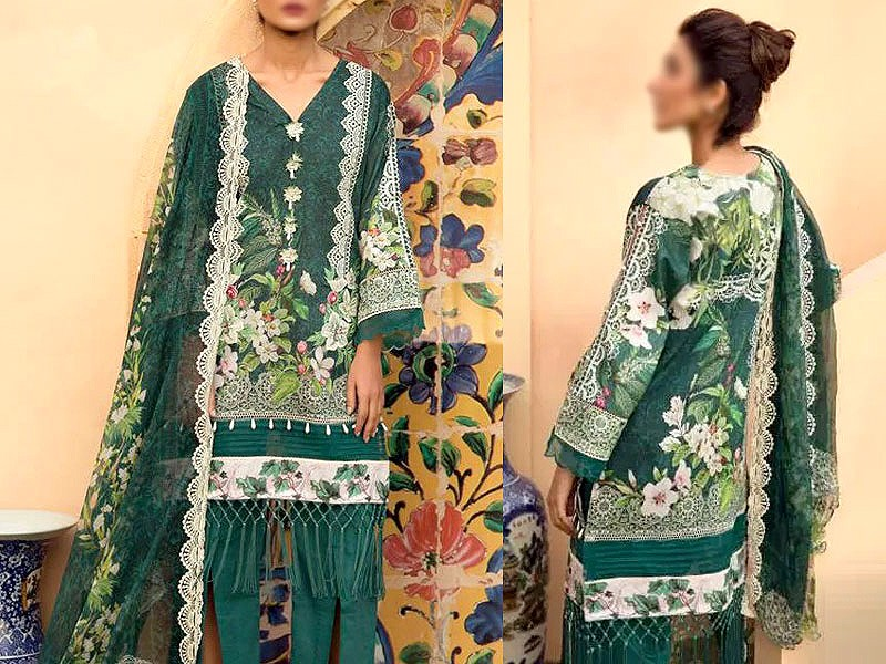 Heavy Embroidered Lawn Suit with Lawn Dupatta Price in Pakistan