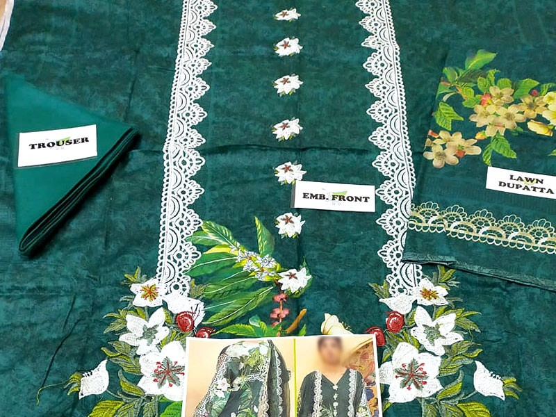 Heavy Embroidered Lawn Suit with Lawn Dupatta