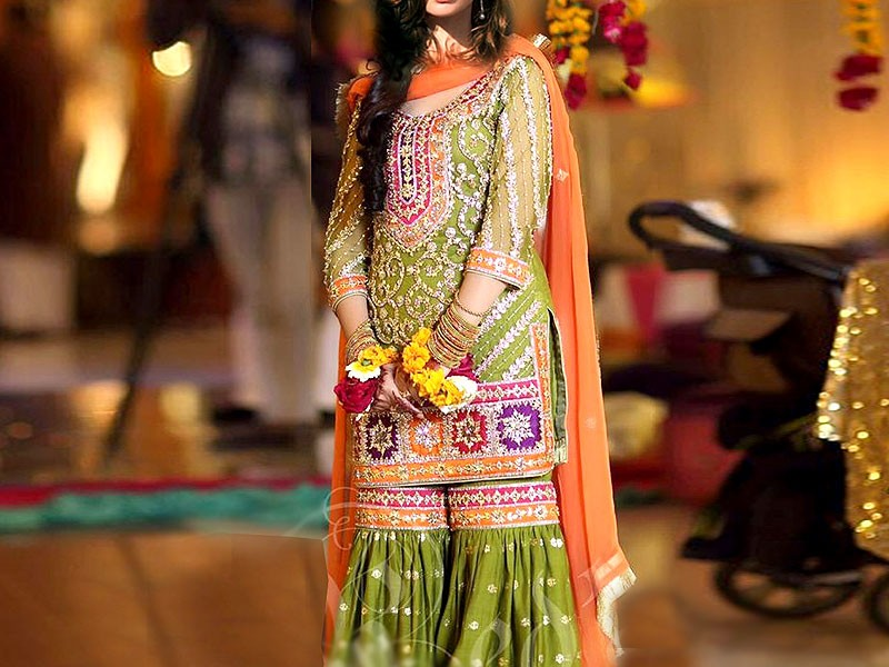 Heavy Embroidered Chiffon Mehndi Dress