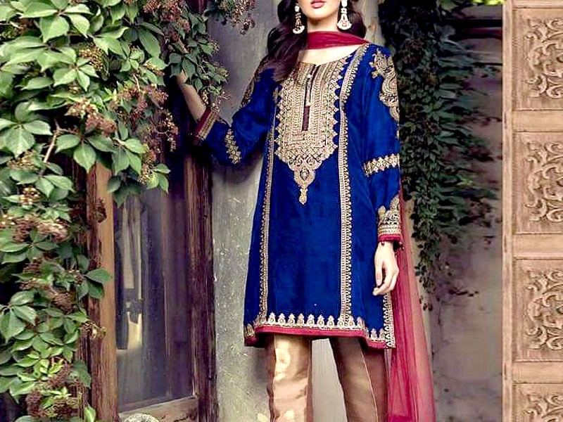 Embroidered Chiffon Dress with Silk Trouser