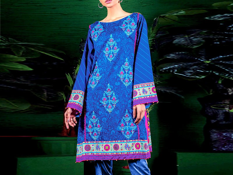 Embroidered Blue Lawn Dress with Chiffon Dupatta Price in Pakistan