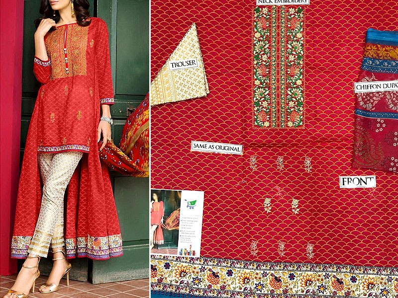 Elegant Embroidered Lawn Suit with Chiffon Dupatta