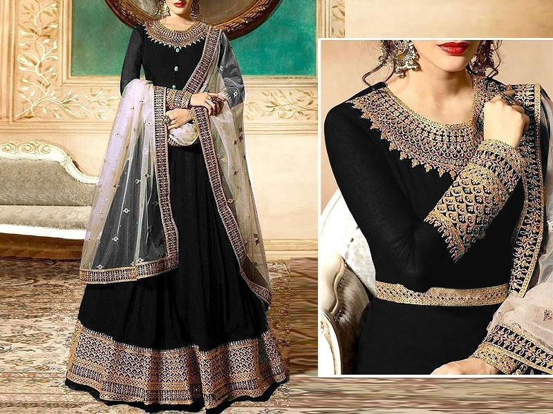 Indian Embroidered Black Chiffon Maxi with Net Dupatta Price in Pakistan