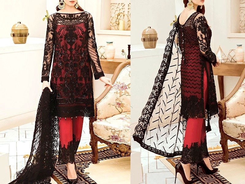 Heavy Embroidered Masoori Net Dress with Jamawar Trouser Price in Pakistan