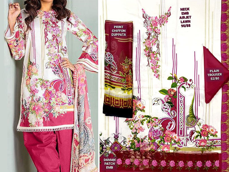Luxury Embroidered Airjet Lawn Dress 2020 with Chiffon Dupatta