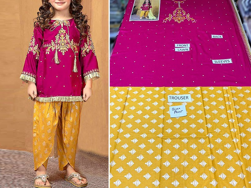 Kids 2-Pcs Embroidered Lawn Suit