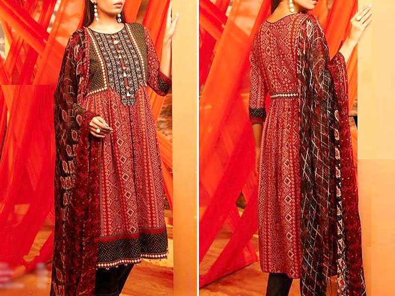 Traditional  Embroidered Lawn Dress 2020 with Lawn Dupatta