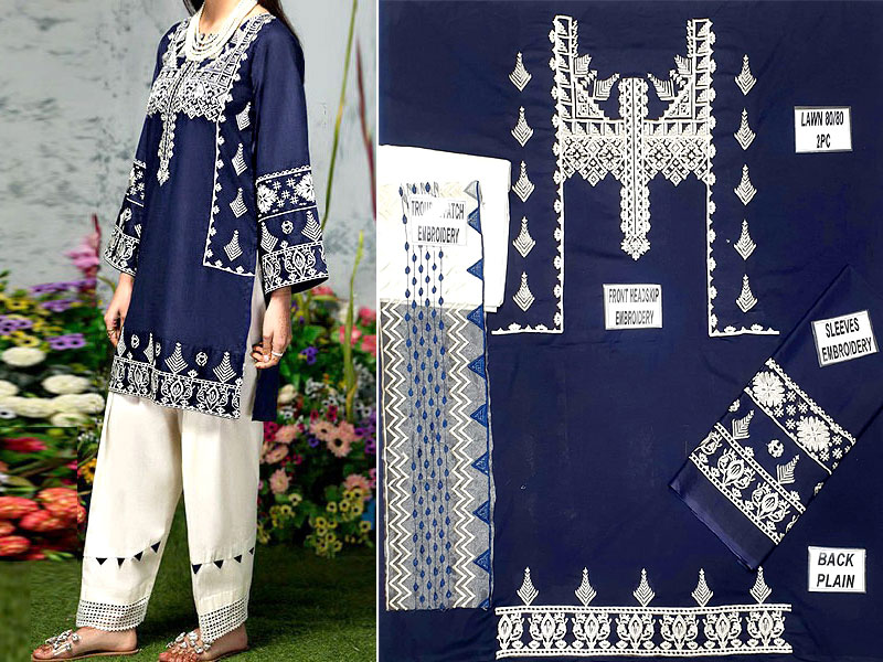 2-Pcs Embroidered Navy Blue Lawn Suit