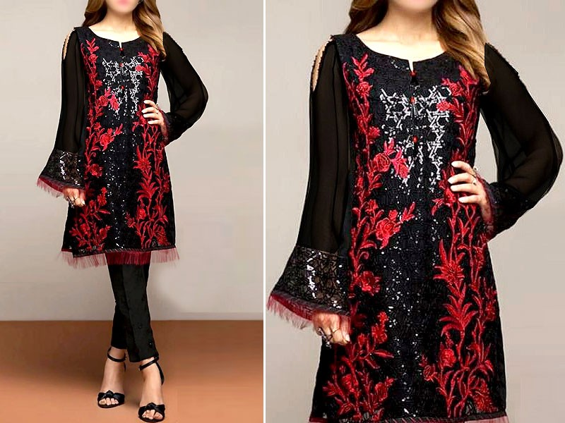 2-Pcs Sequins Embroidered Black Lawn Dress Price in Pakistan
