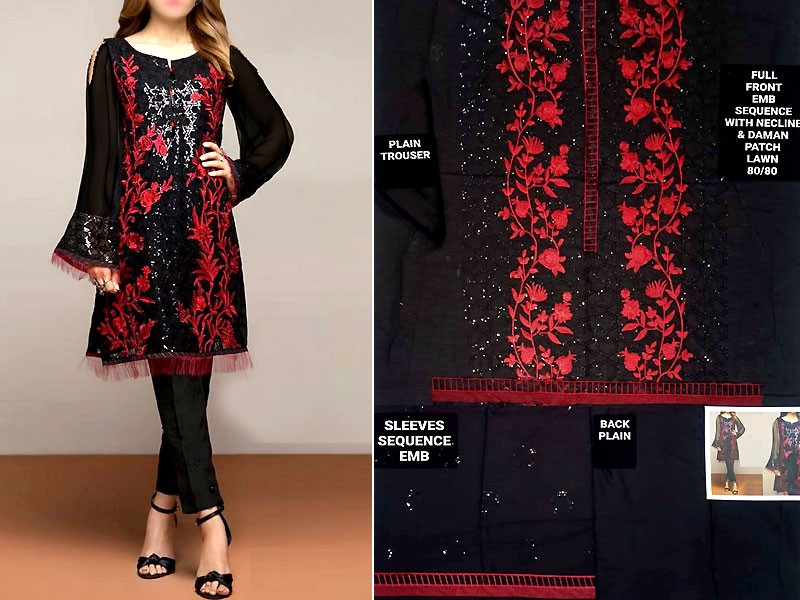 2-Pcs Sequins Embroidered Black Lawn Dress