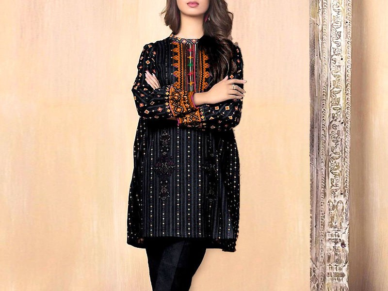 2-Pcs Heavy Embroidered Black Lawn Dress