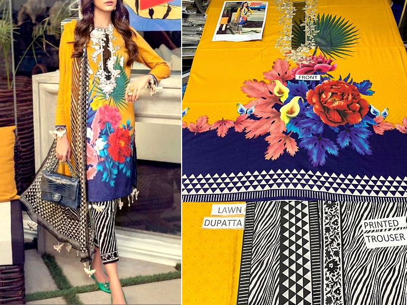 Embroidered Lawn Dress 2020 with Lawn Dupatta