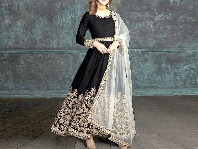 Indian Embroidered Black Chiffon Maxi Dress