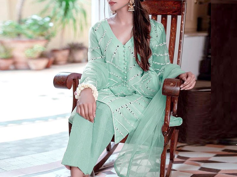 Unstitched Miror Work Embroidered Organza Kurti with Inner