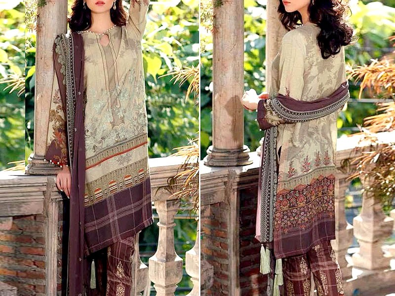 Luxury Embroidered Masoori Lawn Dress 2020 with Chiffon Dupatta Price in Pakistan