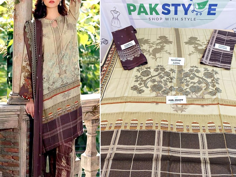 Luxury Embroidered Masoori Lawn Dress 2020 with Chiffon Dupatta