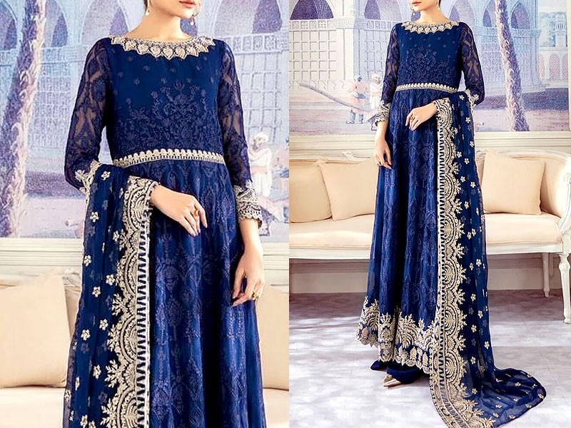 Luxury Heavy Embroidered Chiffon Maxi Dress Price in Pakistan