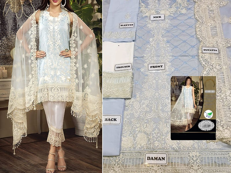 Luxury Heavy Embroidered Lawn Dress with Embroidered Net Dupatta