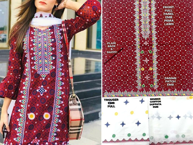 Traditional Embroidered Lawn Dress with Embroidered Chiffon Dupatta