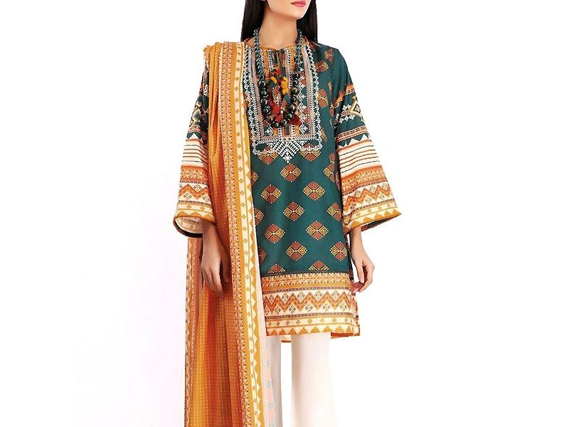 Designer Embroidered Lawn Dress 2020 with Lawn Dupatta