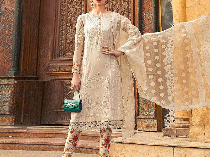 Schiffli Embroidered Lawn Dress with Chiffon Dupatta