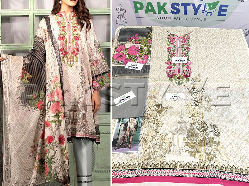 Heavy Neck Embroidered Lawn Dress 2020 with Lawn Dupatta