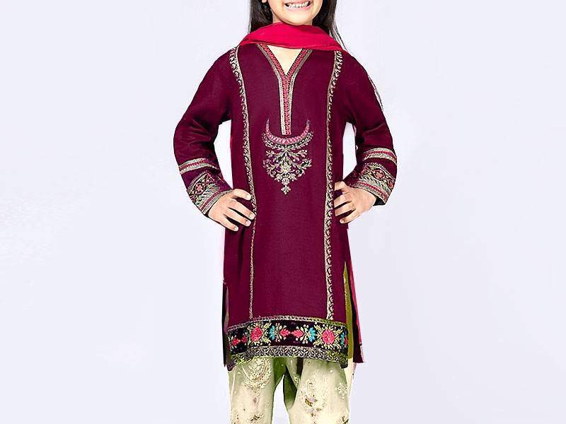Kids 3-Pcs Embroidered Linen Suit with Net Dupatta Price in Pakistan