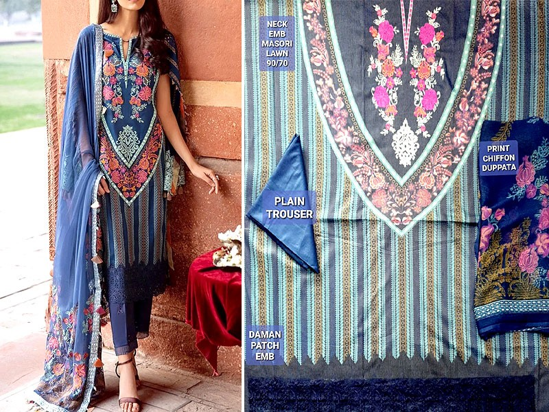 Embroidered Masoori Lawn Dress 2020 with Chiffon Dupatta