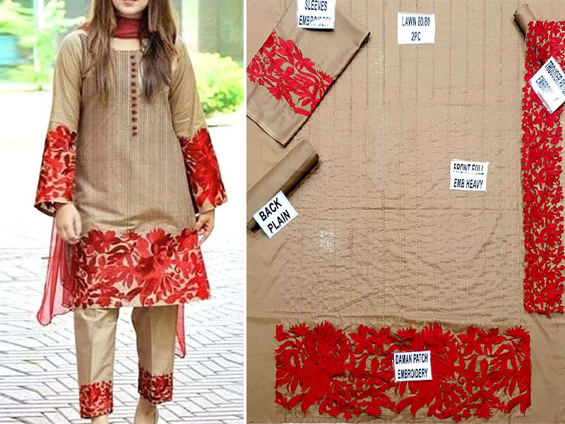 2-Pcs Scroll Embroidered Lawn Dress