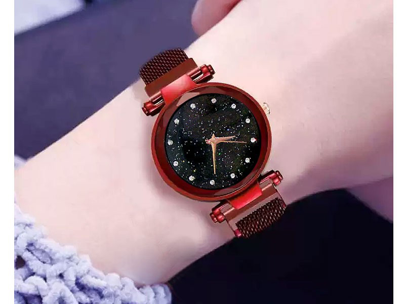 Magnetic Strap Ladies Watch - Red