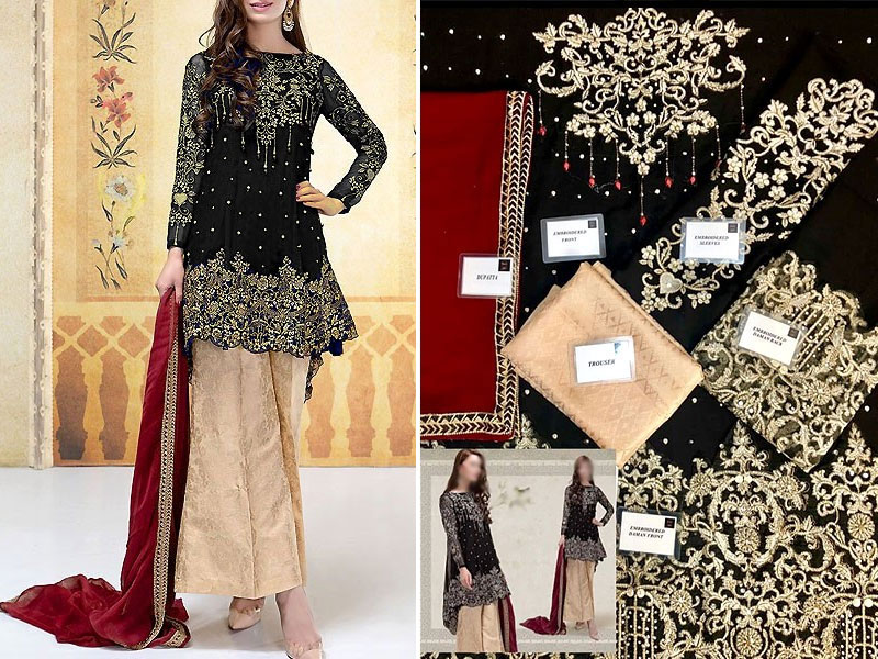 Embroidered Black Chiffon Wedding Dress with Jamawar Trouser