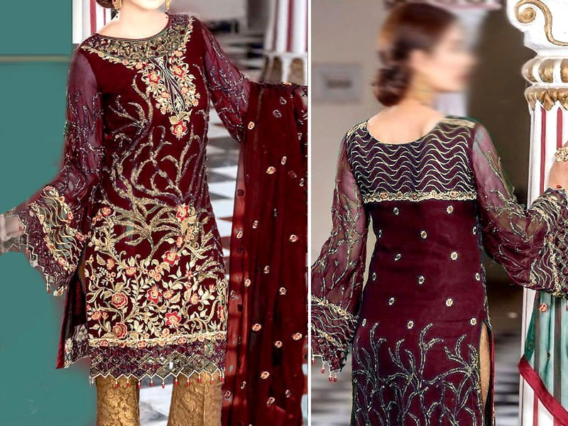 Heavy Embroidered Chiffon Dress with Jamawar Trouser