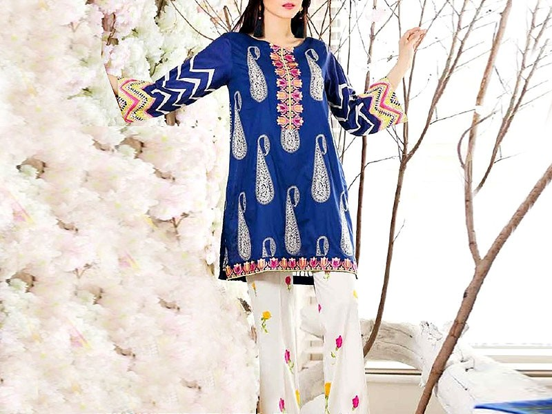 Satrangi Embroidered Cambric Cotton Dress 3-B Price in Pakistan