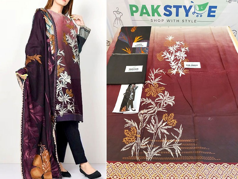 Elegant Embroidered Lawn Dress 2020 with Lawn Dupatta