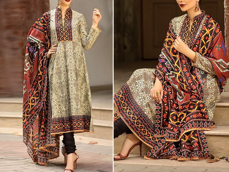 Decent Embroidered Airjet Lawn Dress 2020 with Chiffon Dupatta Price in Pakistan